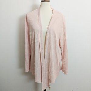 Eileen Fisher Woman Open Front Linen Cardigan Plus